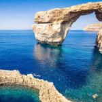 The world famous Azure Window in Gozo island - Mediterranean nat