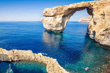 The world famous Azure Window in Gozo island - Mediterranean nat
