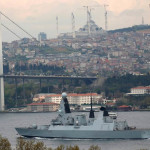 British Royal Navy destroyer HMS Daring sets sail in the Bosphorus, on its way to the Black Sea, in Istanbul