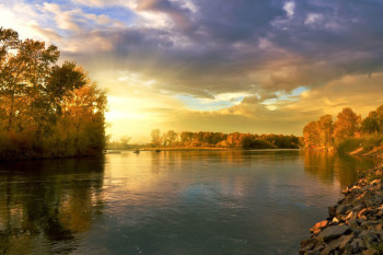 Golden Nature Autumn Landscape September River